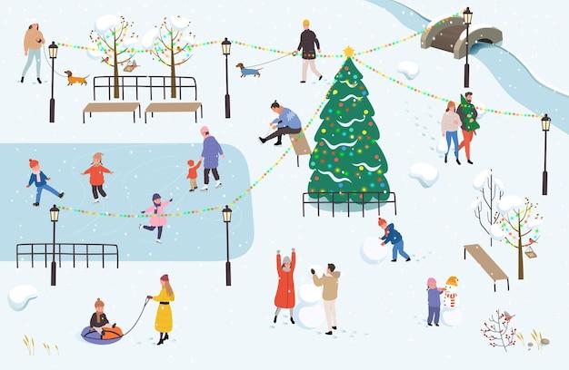 As pessoas caminham no parque no inverno. atividades ao ar livre de inverno. Vetor Premium