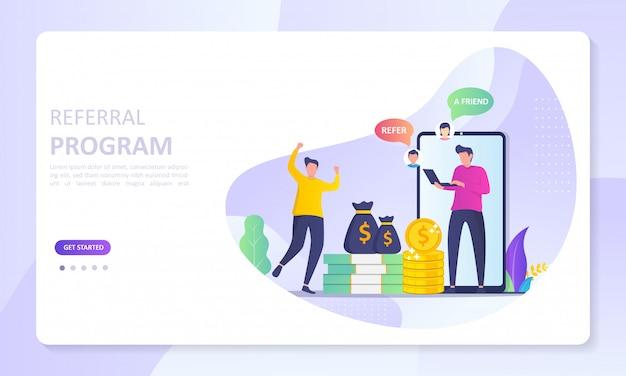 As pessoas compartilham informações sobre referências e ganham dinheiro Vetor Premium
