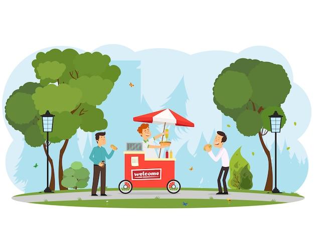 As pessoas compram e comem cachorros-quentes no parque da cidade. Vetor Premium