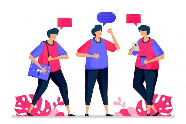 As pessoas conversam umas com as outras, conversam informalmente e dizem olá quando voltam ao trabalho. Vetor Premium