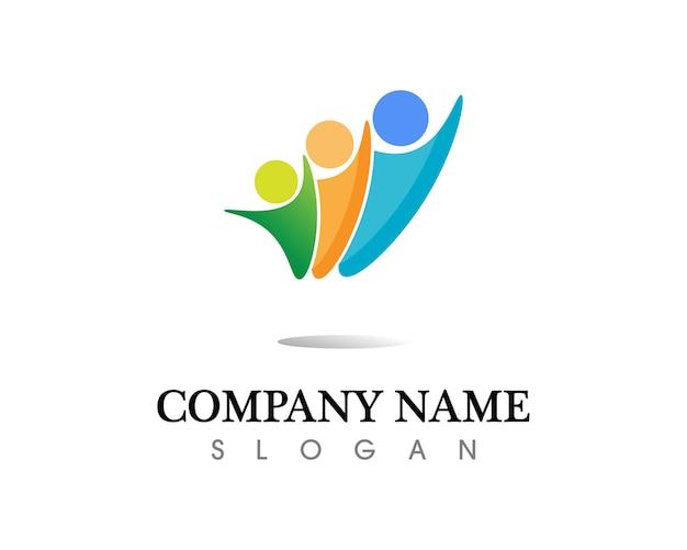 As pessoas da comunidade se importam logotipo e modelo de símbolos Vetor Premium