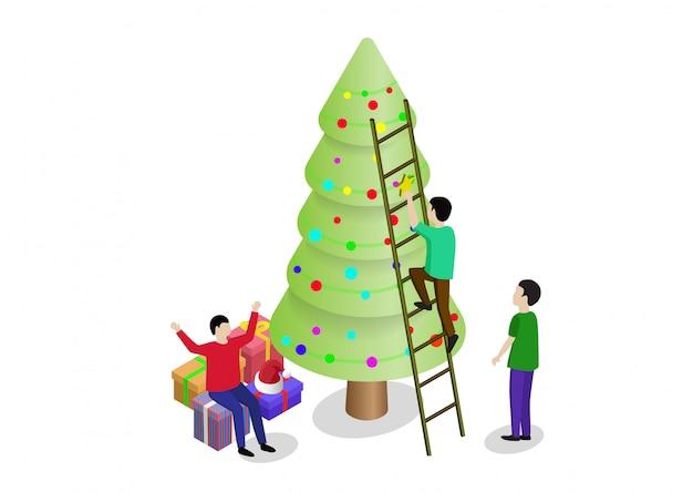 As pessoas decoram a árvore de natal e preparam as caixas de presente juntas. pode usar para web banner, infográficos, imagens de herói. Vetor Premium