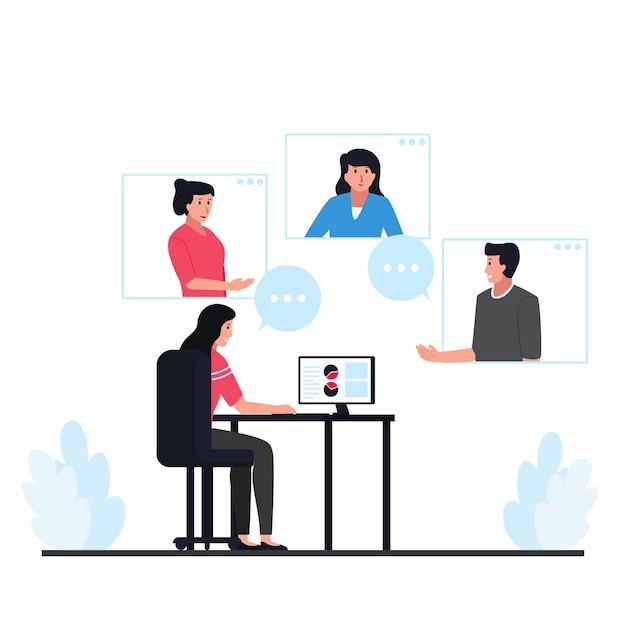 As pessoas discutem através da metáfora de vídeo de reunião remota. Vetor Premium