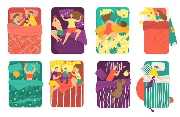 As pessoas dormem na cama em poses diferentes conjunto de ilustrações. dormir na cama com crianças, gatos juntos e debaixo do travesseiro. mulher sonhando e homem dormindo à noite. relaxe na hora de dormir, descanse, vista de cima. Vetor Premium