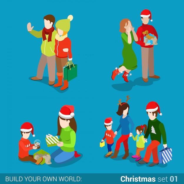As pessoas em chapéus de papai noel com presentes e sacos de compras de natal vector a ilustração. Vetor grátis