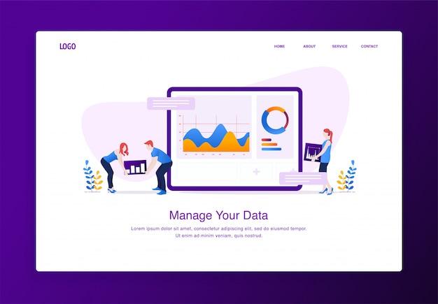 As pessoas estão personalizando dados no tablet para site e celular Vetor Premium