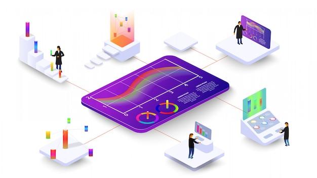As pessoas estudam processos dinâmicos em gráficos e diagramas. infografia 3d isométrica. Vetor Premium