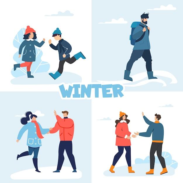 As pessoas felizes gostam de diversão de inverno recreação conjunto plano Vetor Premium