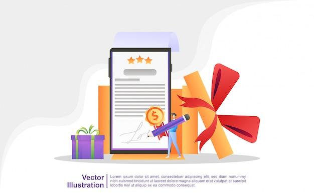 As pessoas ganham sorteios, programas de devolução de dinheiro, recompensas para clientes fiéis e ofertas atraentes. Vetor Premium