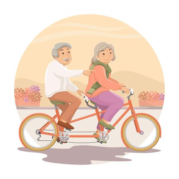 As pessoas mais velhas. vovô e vovó andam de bicicleta juntos Vetor Premium