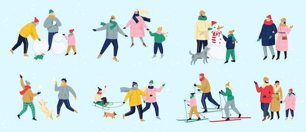 As pessoas passam tempo ao ar livre no inverno. pessoas com roupas quentes, fazendo atividades de inverno. atividade de inverno com a família. temporada fria, patinar na pista de gelo e fazer um boneco de neve, esquiar. ilustração Vetor Premium