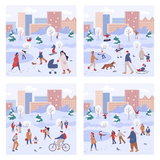 As pessoas passam tempo ao ar livre no inverno. pessoas com roupas quentes, fazendo atividades de inverno. atividade de inverno da cidade com a família. conjunto de ilustração Vetor Premium