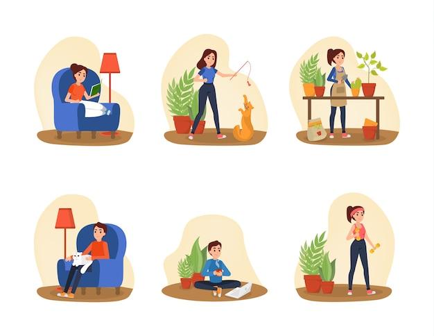As pessoas passam tempo em casa. coleção de mulher e homem fazendo atividade doméstica. exercício e leitura de livro. ilustração em vetor plana isolada Vetor Premium