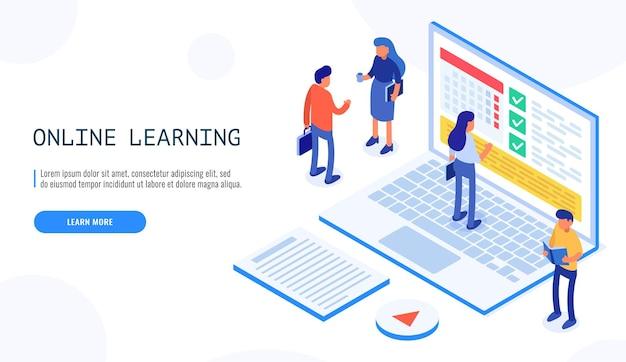 As pessoas se comunicam sobre temas educacionais, na programação educacional de laptops de tela. educação online. Vetor Premium