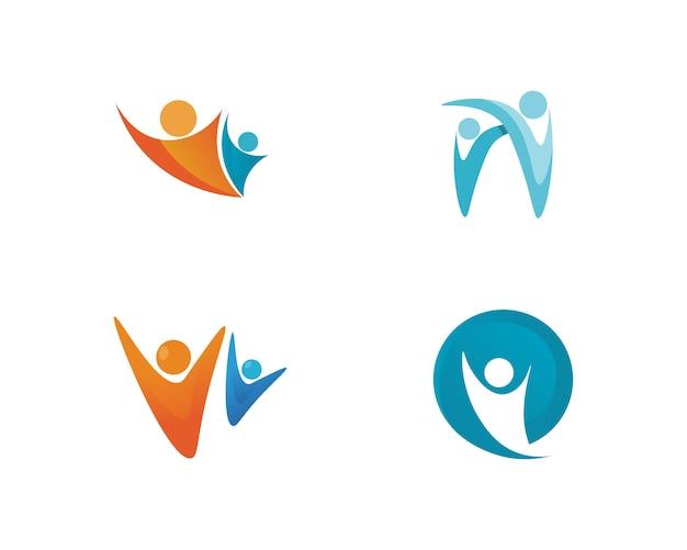 As pessoas se importam sucesso saúde vida logotipo modelo ícones Vetor Premium