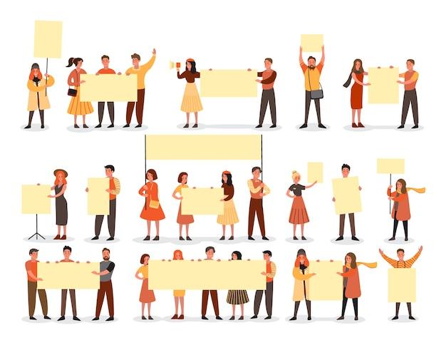 As pessoas seguram o conjunto de banner. coleção de grupo de personagem com tabuleiro vazio em branco para mensagem. conceito de publicidade. ilustração Vetor Premium