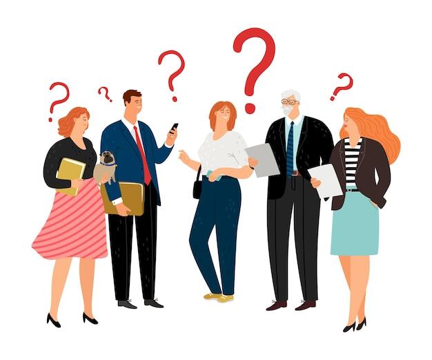 As pessoas têm dúvidas. pontos de interrogação, personagens vetoriais de equipes de negócios de diferentes idades Vetor Premium
