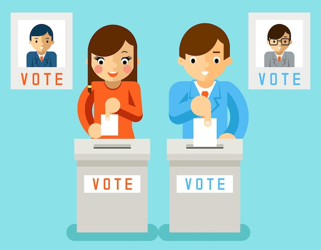 As pessoas votam em candidatos de diferentes partidos. votação eleitoral, votação e política, escolha democracia Vetor grátis