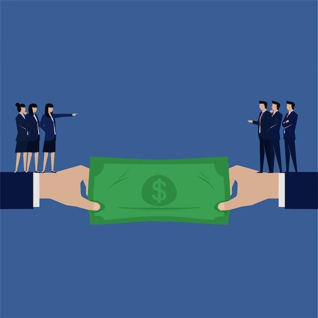 As questões de gênero nos negócios atraem dinheiro entre homens e mulheres. Vetor Premium