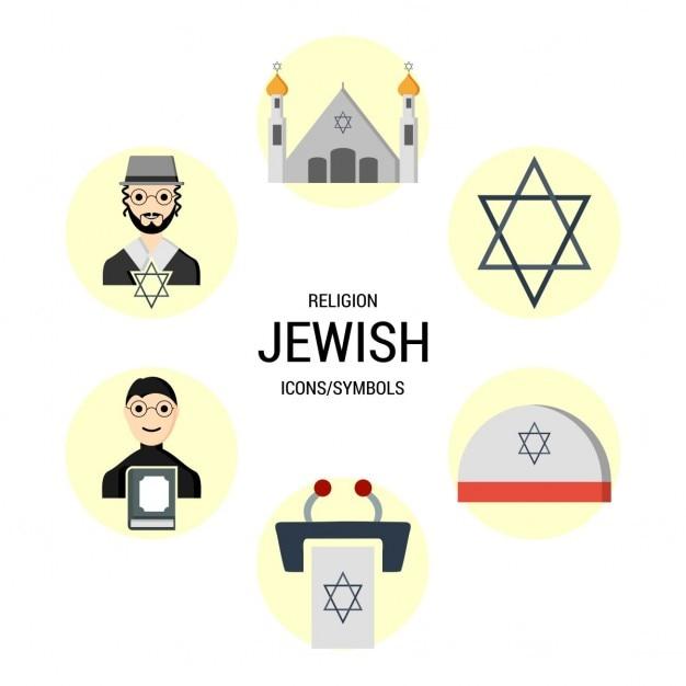 As religiões judaicas icon set Vetor grátis