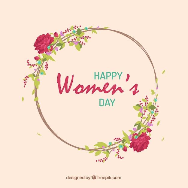 As rosas desenhadas mão grinalda dia das mulheres Vetor grátis