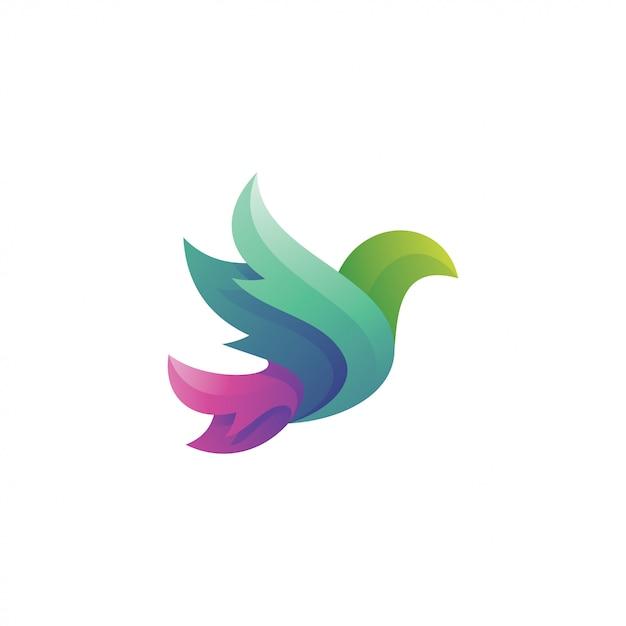 Asa de pássaro com estilo de cor gradiente Vetor Premium
