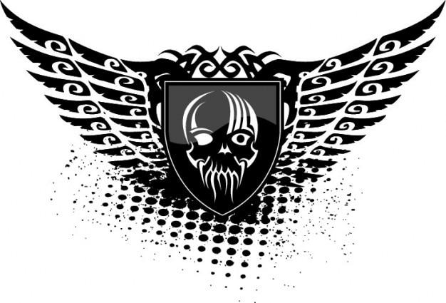 Asas crânio escudo preto do ícone do vetor Vetor grátis