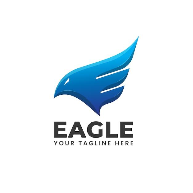 Asas de águia fogo chama azul abstrato forma moderna logo Vetor Premium