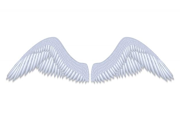 Asas de anjo branco realista isoladas ilustração vetorial Vetor Premium