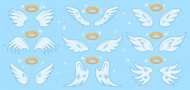 Asas de anjo. desenhos animados asa de anjos e nimbus, sinal sagrado anjo alado, céu elegante anjo asas ilustração conjunto de ícones. anjo, asas com santo nimbus, asa de símbolo Vetor Premium