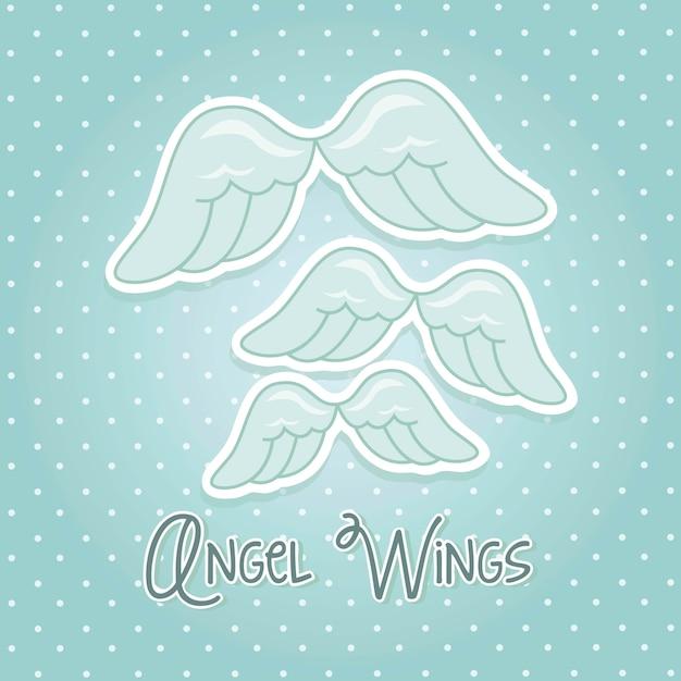 Asas de anjo sobre ilustração vetorial de fundo azul Vetor Premium