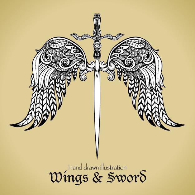 Asas e espada Vetor grátis