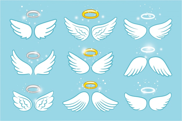 Asas e nimbus. anjo alado glória halo desenhos animados bonitos Vetor Premium