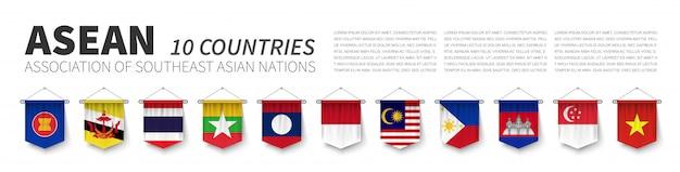Asean. associação das nações do sudeste asiático Vetor Premium