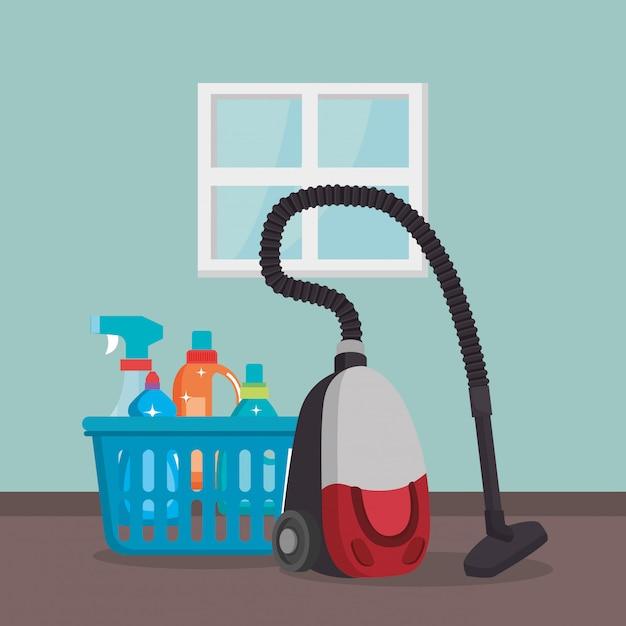 Aspirador de pó com serviço de lavanderia Vetor grátis