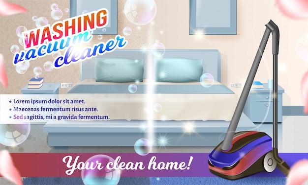 Aspirador de vetor na cama de fundo no quarto Vetor Premium