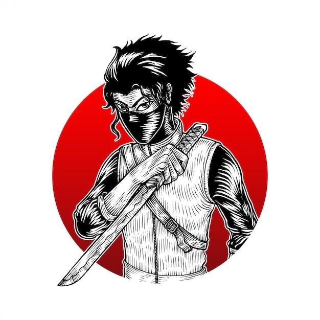 Assassino ninja Vetor Premium