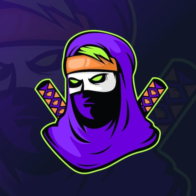 Assassino ou ninja com duas espadas para o logo esport gaming. Vetor grátis