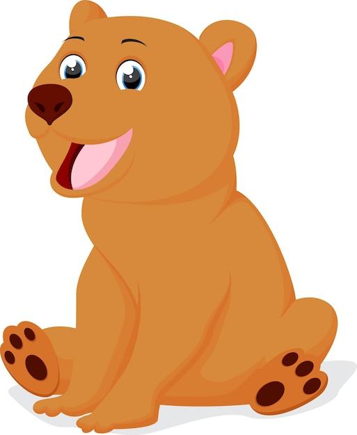 assento bonito dos desenhos animados do urso marrom baixar vetores
