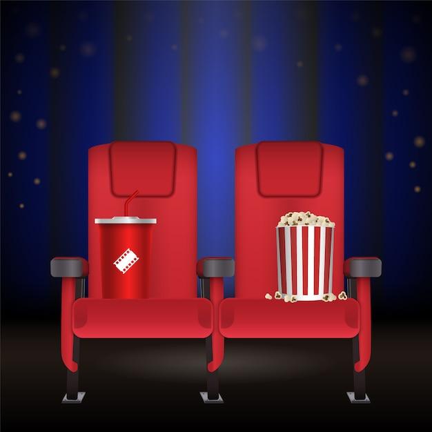Assento de teatro de cinema de cinema vermelho realista Vetor Premium