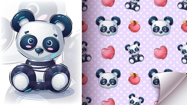 Assento do teddy panda - padrão perfeito. Vetor Premium