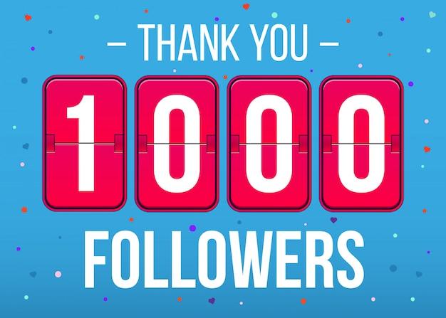 Assinantes de 1000 seguidores, banner de cartão de agradecimento. Vetor Premium