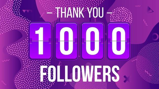 Assinantes de 1000 seguidores, obrigado banner. Vetor Premium