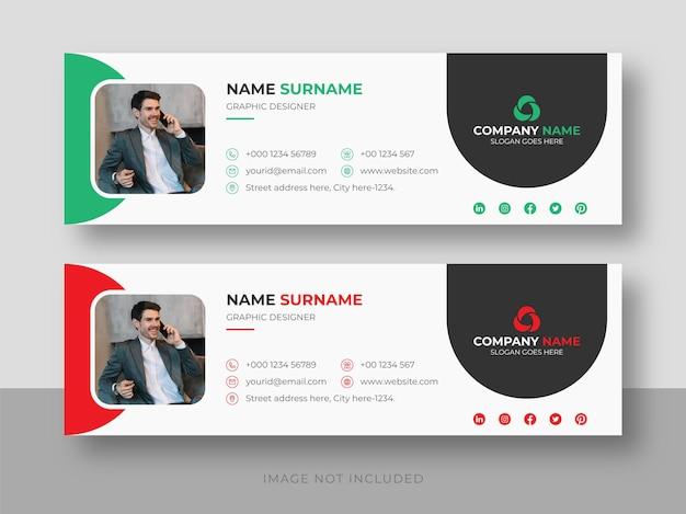 Assinatura de e-mail ou rodapé de e-mail e mídia social pessoal modelo de design de capa do facebook Vetor Premium