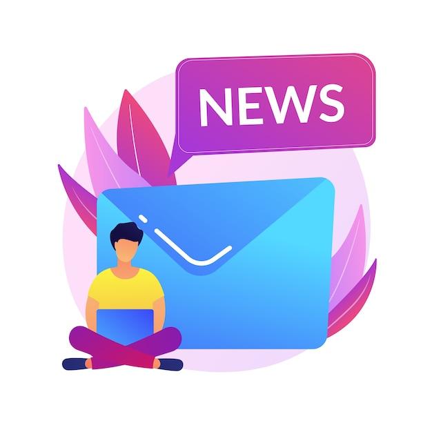 Assinatura de newsletter. passatempo moderno, leitura de notícias online, correio da internet. anúncio de spam, carta de phishing, elemento de design de ideia de esquema. Vetor grátis