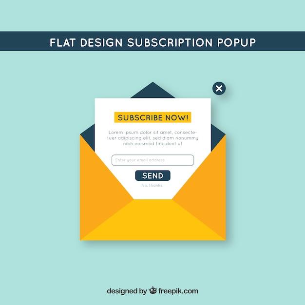 Assinatura moderna pop up com design plano Vetor grátis