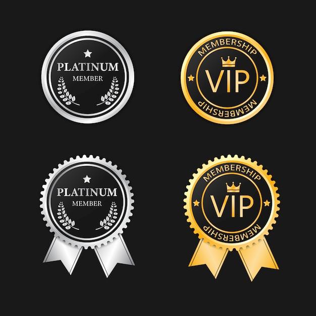 Assinatura vip platinum e gold Vetor Premium