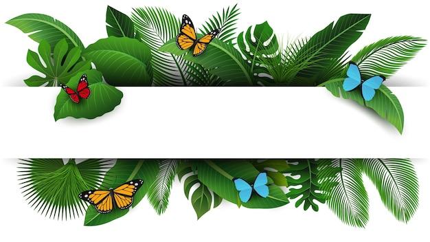 Assine com espaço do texto das folhas e das borboletas tropicais. Vetor Premium
