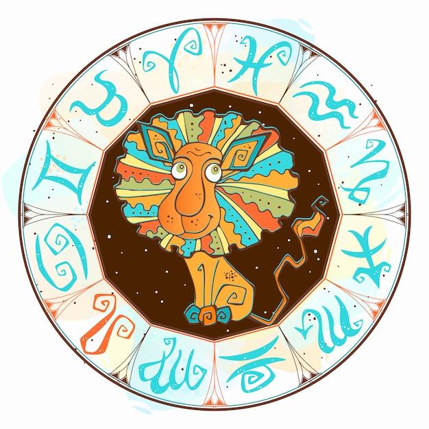 Assine leo no círculo do zodíaco. Vetor Premium