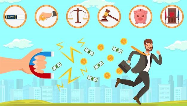Assistência jurídica plana no tratamento de devedores. Vetor Premium